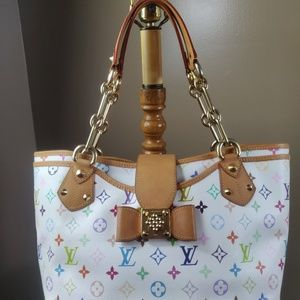 Auth Louis Vuitton Annie Multicolor Gm White